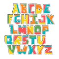 Hand lubberly cut vector colorful alphabet sticker set.