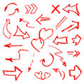 Hand made arrows signs set isolated on white background. Royalty Free Stock Photo