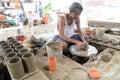 Hand made clay pottery Royalty Free Stock Photo
