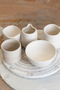 Hand made clay pottery products Royalty Free Stock Photo