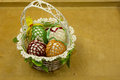 Hand made Easter basket on a wooden table