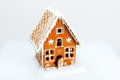 The hand made eatable gingerbread house and snow decoration Stock Photography