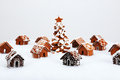The hand made eatable gingerbread houses and new year tree with snow decoration Stock Image