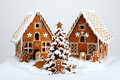 The hand made eatable gingerbread houses and new year tree with snow decoration Stock Photos