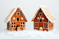 The hand made eatable gingerbread houses and snow decoration Royalty Free Stock Photography