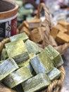 Hand made natural soap bars in basket Royalty Free Stock Photo
