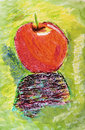 A hand made painting of an apple Stock Photos