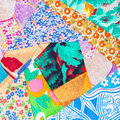 Hand made patchwork quilt close up Royalty Free Stock Photo