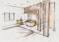 Hand made sketch illustration interior design Royalty Free Stock Image
