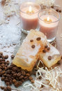 Hand-made soap, bath salt, candles & coffee beans Stock Images