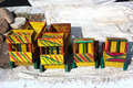 Hand made toys (trucks) Royalty Free Stock Photo
