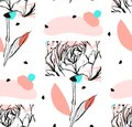 Hand made vector abstract textured trendy creative universal collage seamless pattern with floral peony motif isolated