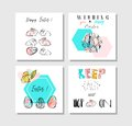 Hand made vector collage abstract Easter greetings cards template collection set with drawing decoration elements