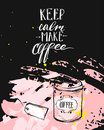 Hand made vector modern ink handwritten calligraphy phase Keep Calm Make Coffee with arrows isolated on black background