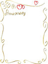 Hand made wedding anniversary border invitation a frame with copyspace beautiful rings hearts Royalty Free Stock Photography
