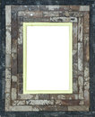 Hand made wooden picture frame a with white inner section Royalty Free Stock Photography