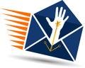 Hand mail logo Royalty Free Stock Photo