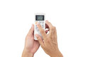 Hand man asia is holding a remote control of air conditioner 22 Royalty Free Stock Photo