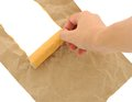 Hand man doing brown paper torn Royalty Free Stock Photo