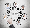 Hand of man forming a business team Royalty Free Stock Photo