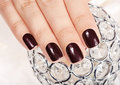 Hand with short manicured nails colored with dark purple nail polish