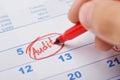 Hand Marking Audit On Calendar