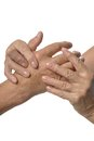 Hand massage on a white background closeup Stock Photo