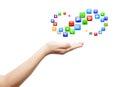 Hand met overvloed apps Royalty-vrije Stock Foto