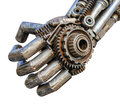 Hand of Metallic cyber or robot made from Mechanical ratchets bo Royalty Free Stock Photo