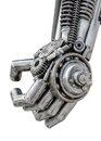 Hand of metallic cyber or robot made from mechanical ratchets bolts and nuts Stock Photo