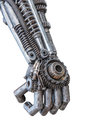 Hand of Metallic cyber or robot made from Mechanical ratchets Royalty Free Stock Photo