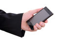 Hand and mobilephone closeup image of business man holding Royalty Free Stock Image