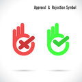 Hand and modern check mark icon. Wrong and right check mark icons