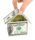 Hand and money house Royalty Free Stock Photo