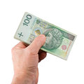 Hand with money isolated on white background Royalty Free Stock Images