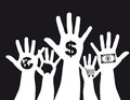 Hand with money sign Stock Photos