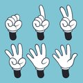 Hand numbers. Cartoon hands people in glove, sign language palm two three one four finger count, vector illustration Royalty Free Stock Photo