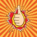 Hand OK sign comic pop art style