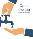 Hand open for drinking tap water.