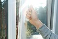 Hand open window plastic pvc Royalty Free Stock Photo