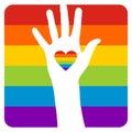 Hand over gay flag