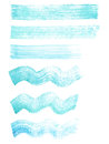Hand painted blue and turquoise watercolor grunge straight and wavy brushes set