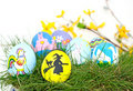 Hand painted decorative Easter Eggs Stock Photo