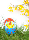 Hand painted Easter Chick on an egg shell Stock Photo