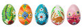 Hand painted easter eggs isolated on white spring patterns floral colorful and designs traditional artistic handmade and unique Stock Image