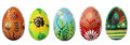 Hand painted Easter eggs isolated on white. Spring patterns