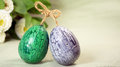 Hand painted easter eggs and spring flowers Stock Photos