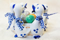 Hand Painted Easter Eggs In Wh...
