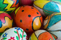 Hand painted eggs close up Stock Photo