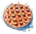 Hand painted home made berry pie Royalty Free Stock Photo